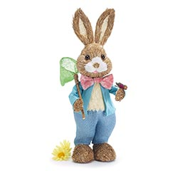 DECOR BOY BUNNY WITH BUTTERFLY AND NET