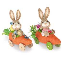 DECOR CARROT CART BUNNIES ASTD