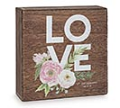 LOVE SHELF SITTER BOX WITH FLOWERS