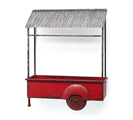 RED TIN CART WALL HANGING
