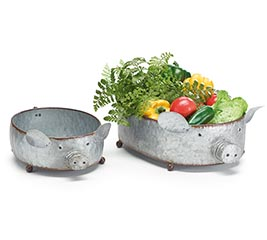 NESTED TIN PIG PLANTERS