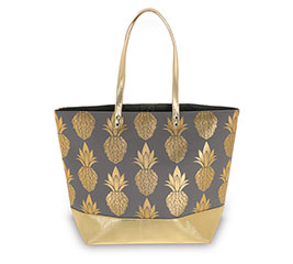 PINEAPPLE CANVAS BAG GRAY AND GOLD
