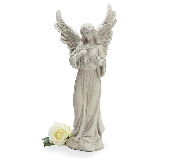 ANGEL HOLDING A CROSS FIGURINE