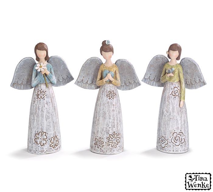ASSORTED FLOWER ANGEL FIGURINES