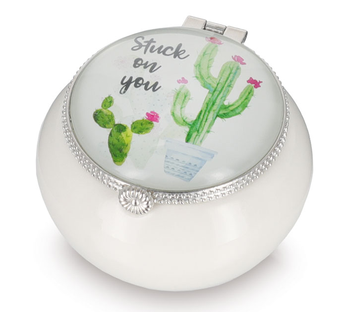 DECOR CACTUS JEWELRY BOX WITH MESSAGE