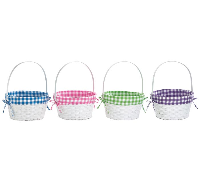 WHITE BASKET WITH PLAID LINERS ASTD