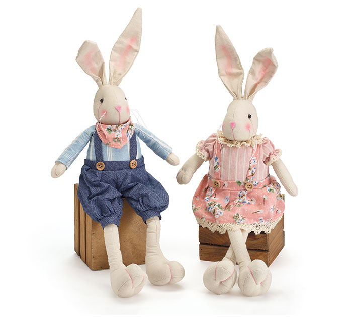 "20"" BUNNY COUPLE SHELF SITTERS"