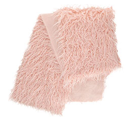 FAUX PINK SHAGGY FUR TABLE RUNNER