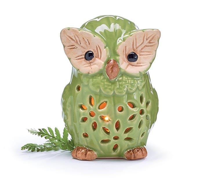 LIGHT UP GREEN OWL FIGURINE