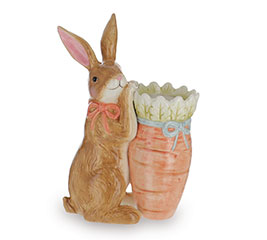 BROWN RABBIT HOLDING CARROT VASE