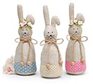 PLUSH BUNNY TRIO WITH POLKA DOT FABRICS