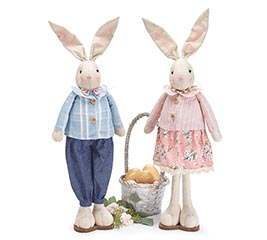 "25"" STANDING BUNNY COUPLE ON WOOD BASE"