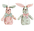 "5"" FLORAL PRINT BUNNY ORNAMENTS IN CRATE"