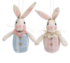 "5"" BLUE/PINK STRIPED BUNNIES IN CRATE"