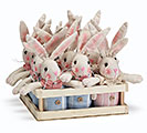 "5"" BLUE/PINK STRIPED BUNNIES IN CRATE 1st Alternate Image"