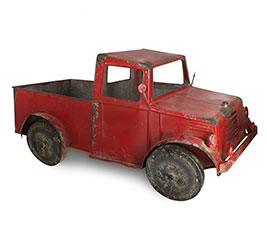 LARGE TIN RED TRUCK WITH RUSTIC ACCENTS
