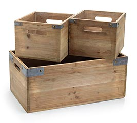 NATURAL WOOD PLANTER CRATES