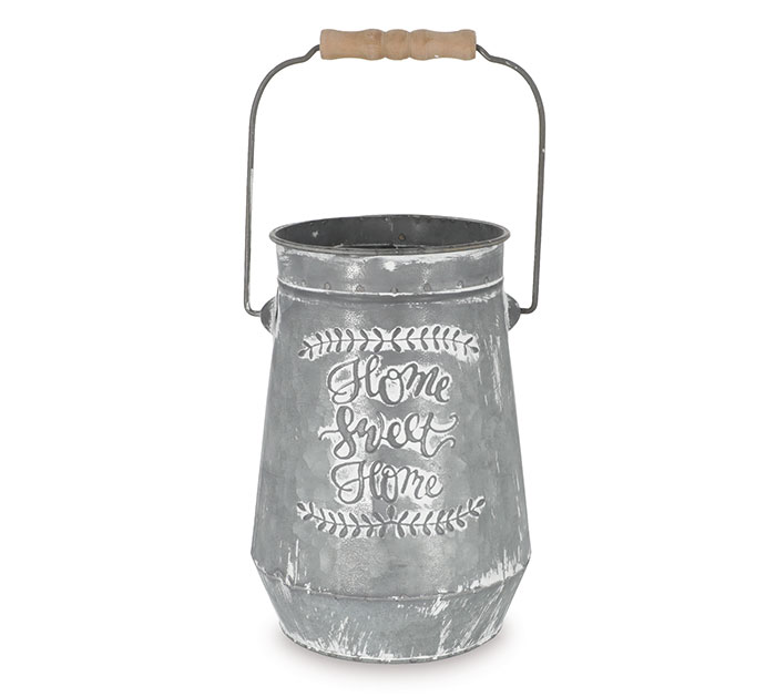 HOME SWEET HOME TIN VASE WITH HANDLE