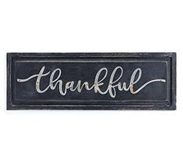 BLACK DISTRESSED WOOD WITH THANKFUL