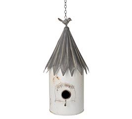 DISTRESSED WHITE BIRDHOUSE