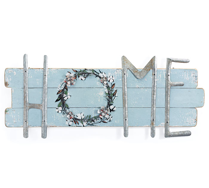 HOME WALL HANGING WITH COTTON WREATH