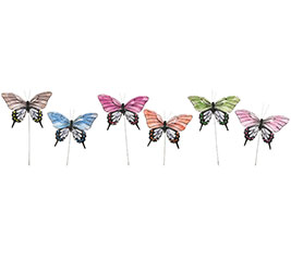 ASSORTED FEATHER BUTTERFLY PICKS