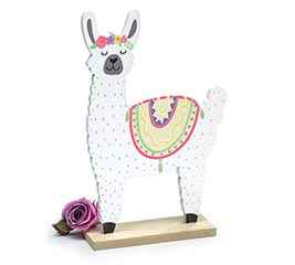 LLAMA WITH FLOWER CROWN SHELF SITTER