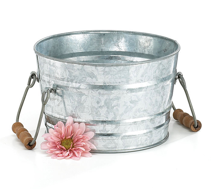 GALVANIZED TIN WASH TUB WITH HANDLES
