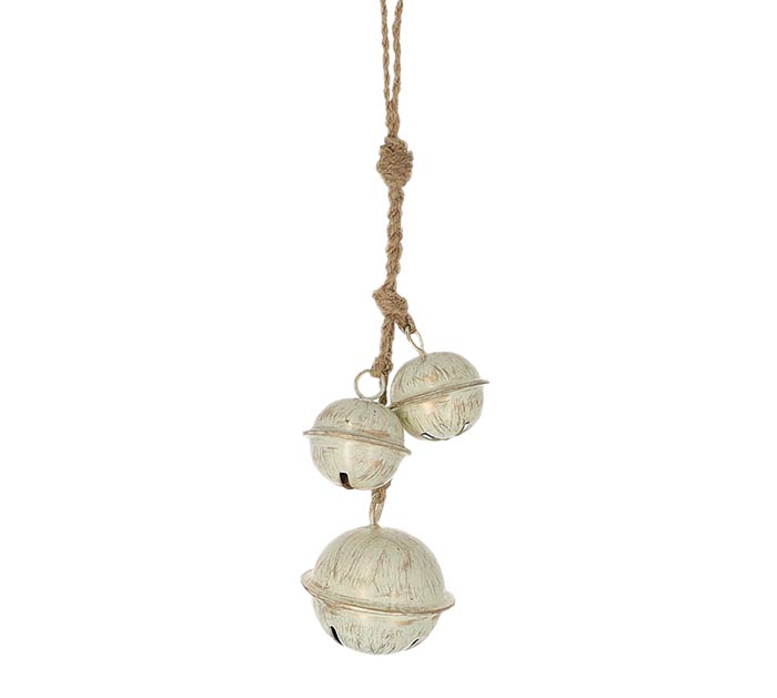 DISTRESSED WHITE JINGLE BELL ORNAMENT