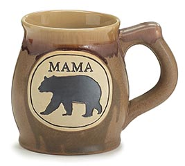 MAMA BEAR ON BROWN PORCELAIN MUG