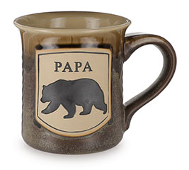 PAPA BEAR ON BROWN PORCELAIN MUG