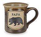 PAPA BEAR ON BROWN PORCELAIN MUG