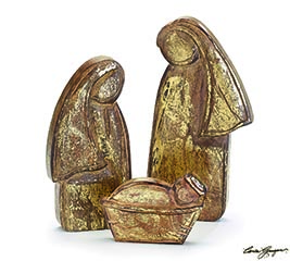 3 PIECE GOLD WOOD HOLY FAMILY NATIVITY