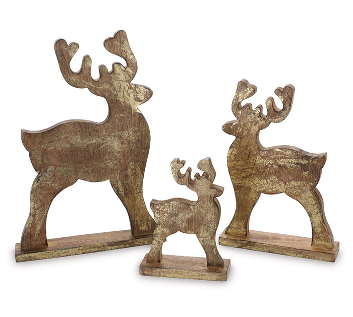ASSORTED WOODEN DEER WITH GOLD FINISH