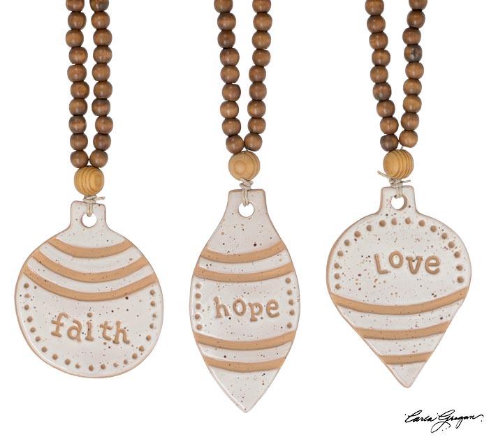 NATURAL COLOR FAITH LOVE HOPE ORNAMENT