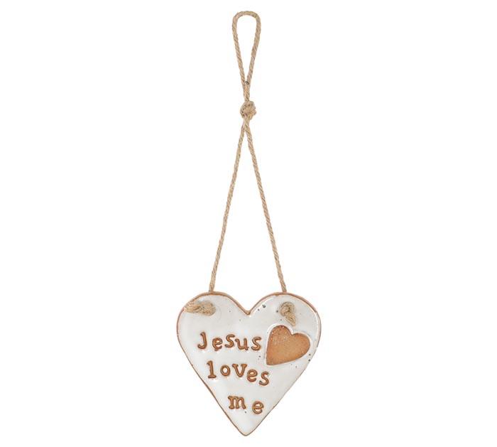 JESUS LOVES ME ON HEART SHAPE ORNAMENT