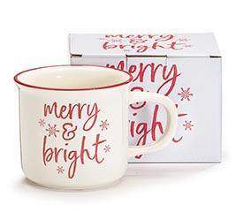 MERRY  BRIGHT MESSAGE CHRISTMAS MUG