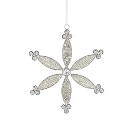 RHINESTONE AND BEADED FLOWER ORNAMENT