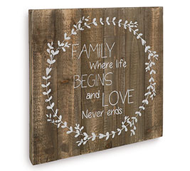 LOVE NEVER ENDS WOODEN WALL HANGING