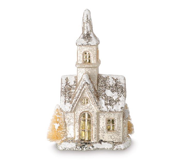 GLASS LIGHT UP CHURCH FIGURINE