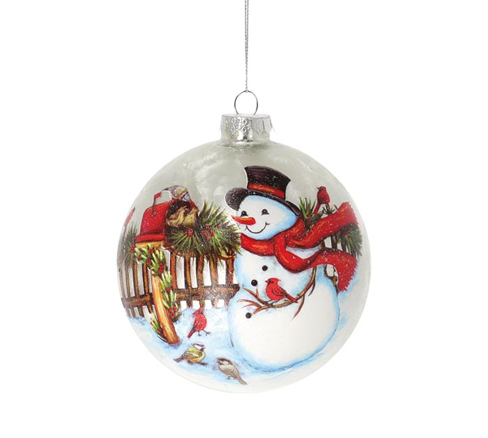 GLASS ORNAMENT WITH SNOWMAN BY MAILBOX