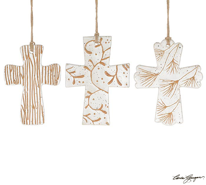 ASSORTED TEXTURED CROSS ORNAMENTS