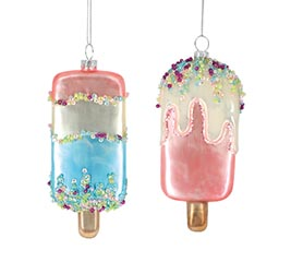 ASSORTED GLASS ICE CREAM BAR ORNAMENTS
