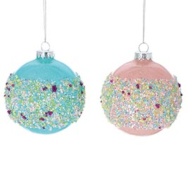 PINK AND BLUE GLASS ORNAMENTS