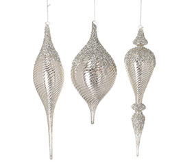 ASSORTED FINIAL SHAPE GLASS ORNAMENTS