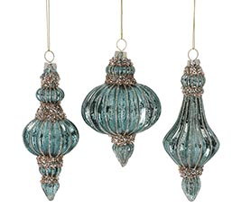 ASSORTED BLUE FINIAL SHAPE ORNAMENTS
