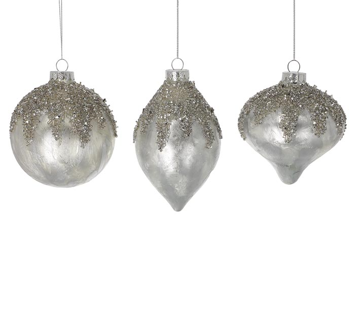 SILVER MERCURY GLASS ORNAMENTS ASSORTED