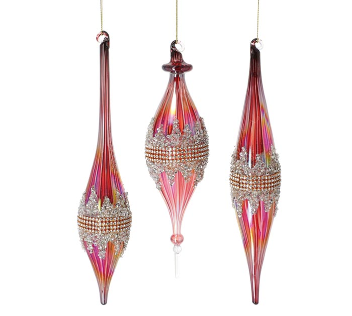 ASSORTED RED GLASS FINIAL SHAPE ORNAMENT