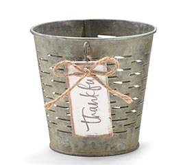 """4"""" OLIVE STYLE POT COVER THANKFUL TAG"""