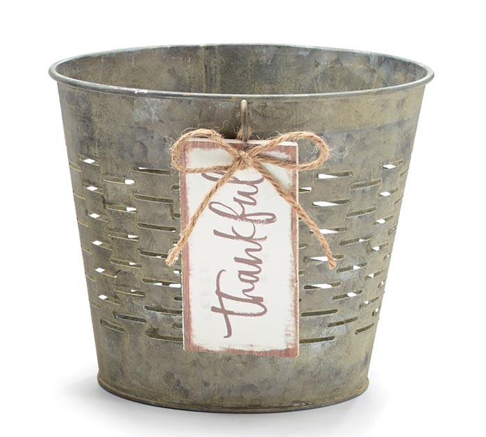 "6"" OLIVE STYLE POT COVER THANKFUL TAG"